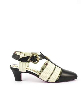 Gucci Black And White Leather T-strap Sandal