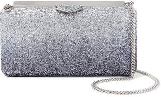 Jimmy Choo Ellipse Dégradé Glittered Leather Clutch - Sky blue