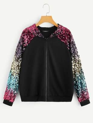 Shein Colorful Sequin Raglan Sleeve Zip Up Hoodie