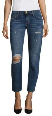 Current/Elliott The Easy Stiletto Distressed Cropped Jeans