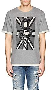 Pierre Balmain MEN'S DRAGON-PRINT WOOL-BLEND T-SHIRT-LIGHT GRAY SIZE 48 EU