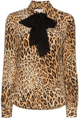 Frame leopard print button down silk blouse