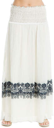 Max Studio linen and cotton embroidered skirt