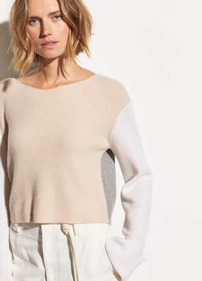 Color Block Cashmere Pullover