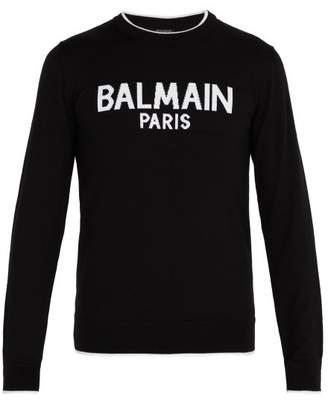 Balmain Logo Print Wool Sweater - Mens - Black