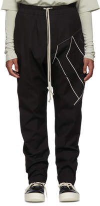 Rick Owens Black Drawstring Embroidered Long Trousers