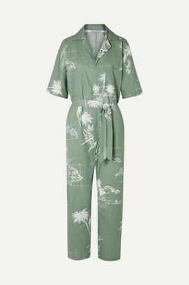 Paradised - Apres Beach Printed Cotton-voile Jumpsuit - Gray green