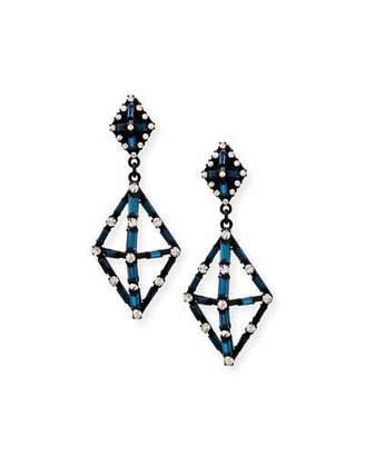 Lulu Frost Proxima Baguette Crystal Drop Earrings, Matte Black $295 thestylecure.com