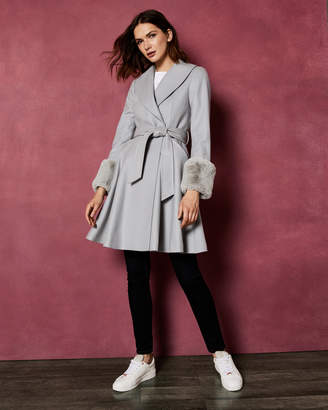 Ted Baker ZURII Faux fur trim wool wrap coat