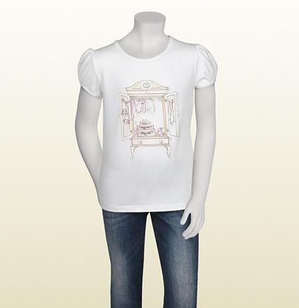 Gucci White Cotton T-Shirt With Closet Print