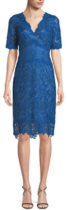 Tadashi Shoji Scalloped V-Neck Lace Cocktail Dress