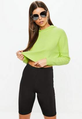 Missguided Green Hooded Cosy Cropped Sweater
