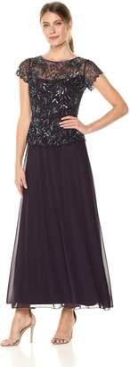 Pisarro Nights Women's Long Beaded Scroll Motif Dress