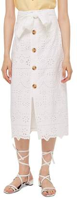 Topshop Button Front Broderie Anglaise Midi Skirt