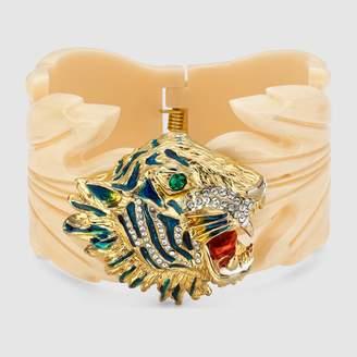 Gucci Resin leaf bracelet with tiger head