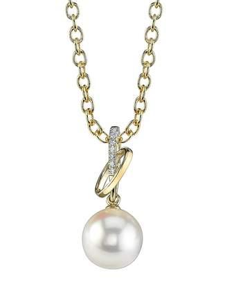 Loren The Pearl Source 14K Gold Akoya Cultured Pearl & Diamond Pendant