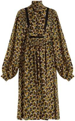 Rochas Floral-print silk crepe de Chine midi dress