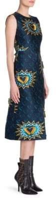 Fendi Heart Jacquard Front Slit A-Line Dress