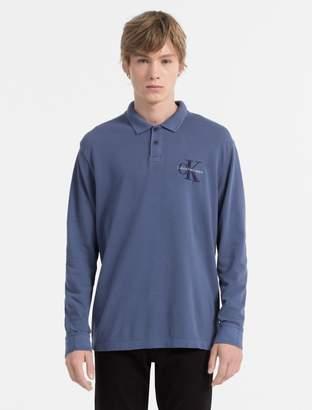 Calvin Klein slim fit monogram logo long sleeve polo shirt