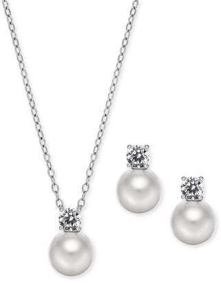 "Danori Silver-Tone 2-Pc. Set Imitation Pearl & Crystal Pendant Necklace & Stud Earrings, 16"" + 2"" extender"
