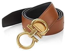Salvatore Ferragamo Men's Adjustable& Reversible Gancini Buckle Belt
