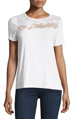 Elie Tahari Natasha Floral Appliqué T-Shirt $128 thestylecure.com