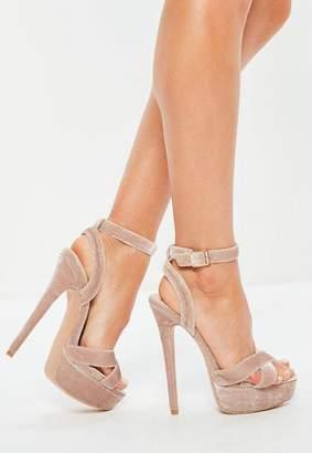Missguided Pink Super Platform Cross Strap Velvet Heeled Sandals