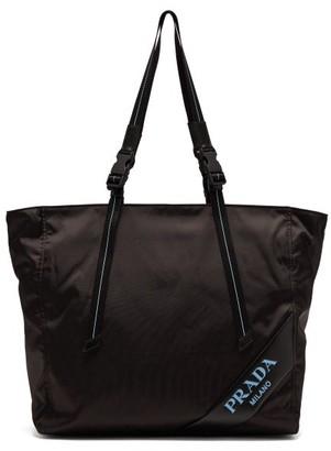 Prada Logo Debossed Nylon Tote Bag - Womens - Black