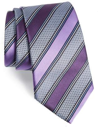 Ermenegildo Zegna Stripe Silk & Cotton Tie