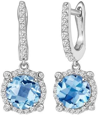 Lafonn Platinum Plated Sterling Silver Prong Set Aquamarine Simulated Diamond & Pave Halo Drop Earrings
