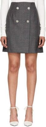 Calvin Klein Grey Wool Fancy Small Check Skirt