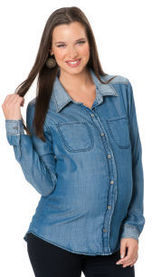A Pea in the Pod Michael Stars Long Sleeve Patch Pocket Maternity Shirt