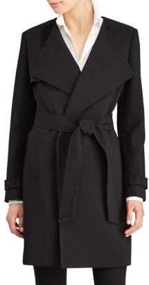 Women's Lauren Ralph Lauren Flap Detail Crepe Wrap Coat $230 thestylecure.com