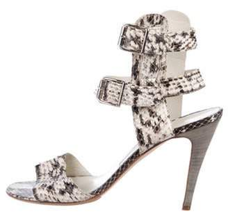 Manolo Blahnik Snakeskin High-Heel Sandals grey Snakeskin High-Heel Sandals