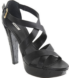 Miu Miu Double Cross Platform Sandal - Black