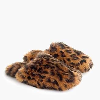J.Crew Leopard fuzzy slippers