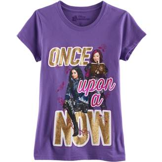 """Disney Disney's Descendants Evie & Mal Girls 7-16 """"Once Upon a Now"""" Glitter Graphic Tee"""