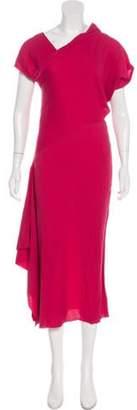 Roland Mouret Asymmetrical Midi Dress Pink Asymmetrical Midi Dress