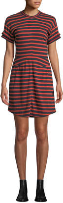 Derek Lam 10 Crosby Striped Crewneck Ruffle Tee Dress