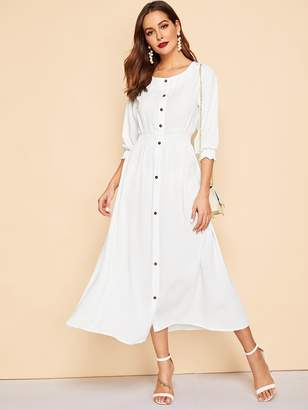 Shein Elastic Waist Button Front Shirt Dress
