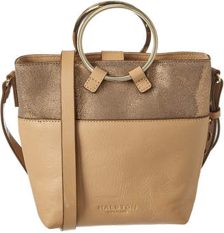 Halston Small Bucket Leather Crossbody