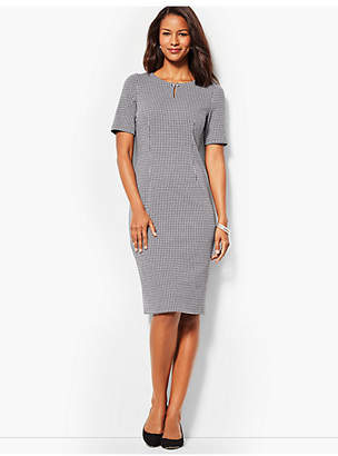 Talbots Refined Ponte Sheath Dress - Houndstooth Print