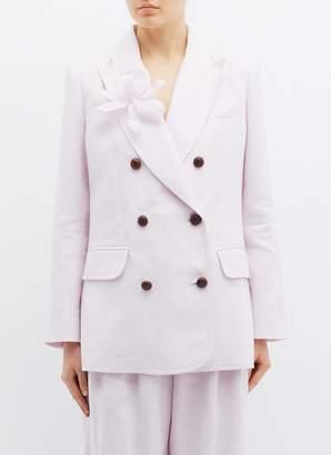 Zimmermann 'Corsage Tailored' detachable floral brooch linen blazer