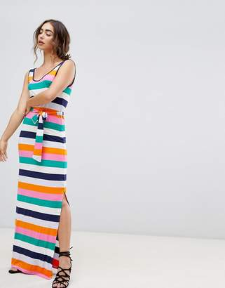 Warehouse Rainbow Stripe Jersey Maxi Dress