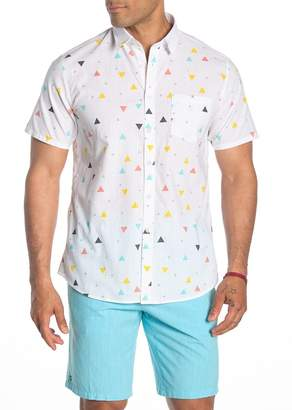 89ed92c911 Micros Short Sleeve Celebration Geo Print Woven Regular Fit Shirt