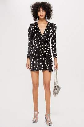 Topshop Spot Satin Frill Dress