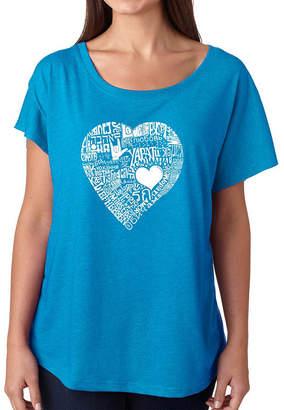 LOS ANGELES POP ART Los Angeles Pop Art Women's Loose Fit Dolman Cut Word Art Shirt - LOVE IN 44 DIFFERENT LANGUAGES