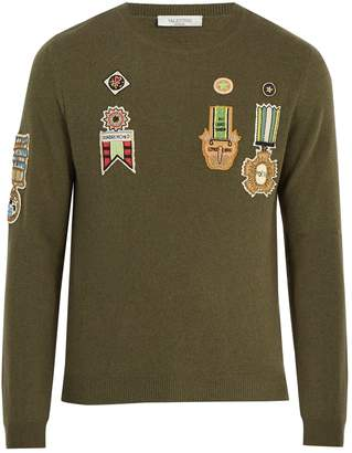 Valentino Embroidered-appliqué wool-blend sweater