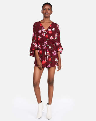 Express Petite Floral Surplice Bell Sleeve Romper