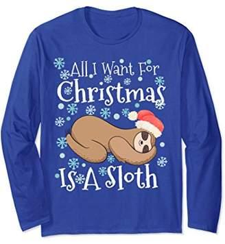 Funny Sloth Christmas Shirt Holiday Long Sleeve Shirt